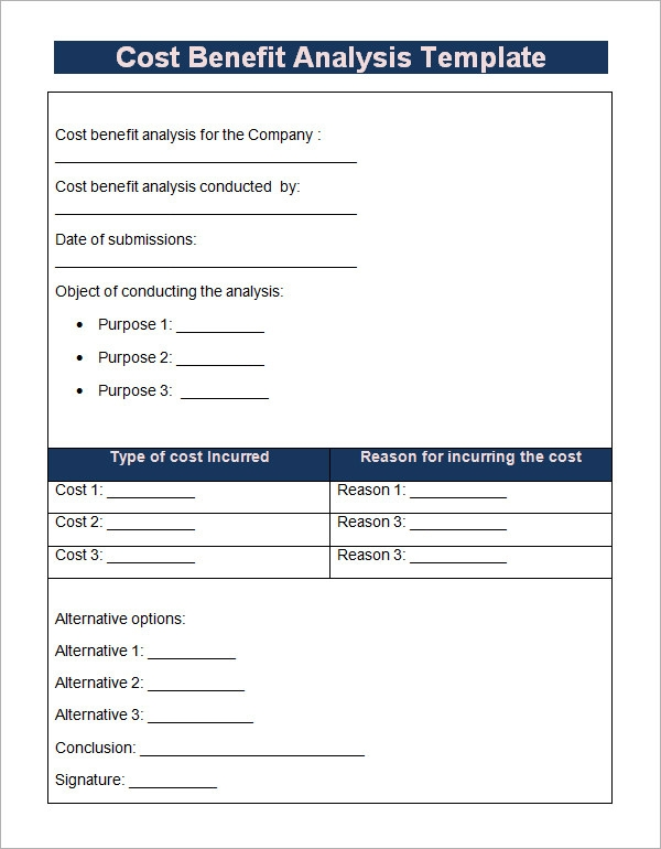 Cost Benefit Analysis Template   Download Free Documents In