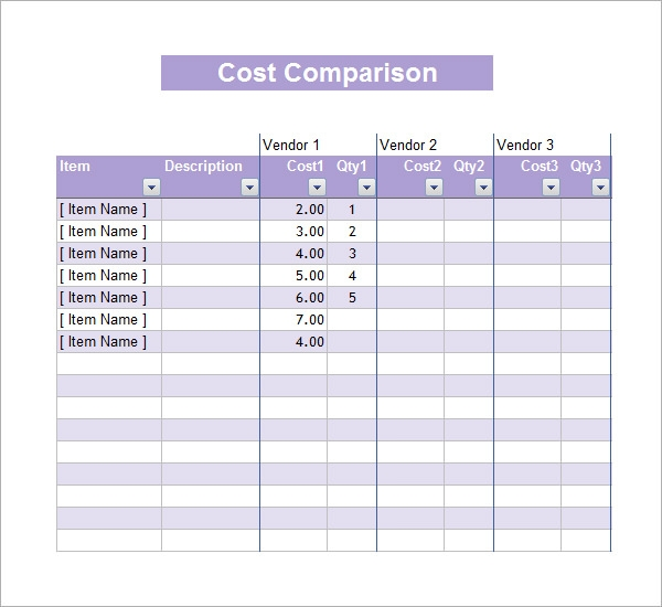 cost comparison template yhuAy0G1