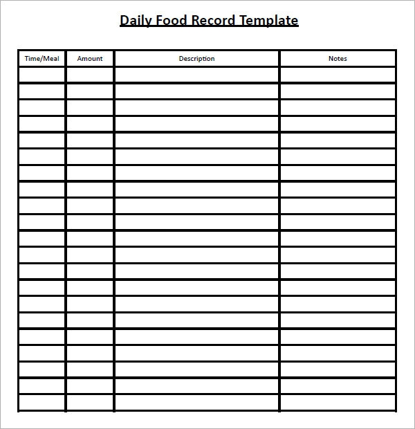 Food Log Template - 15+ Download Free Documents in PDF, Word, Excel