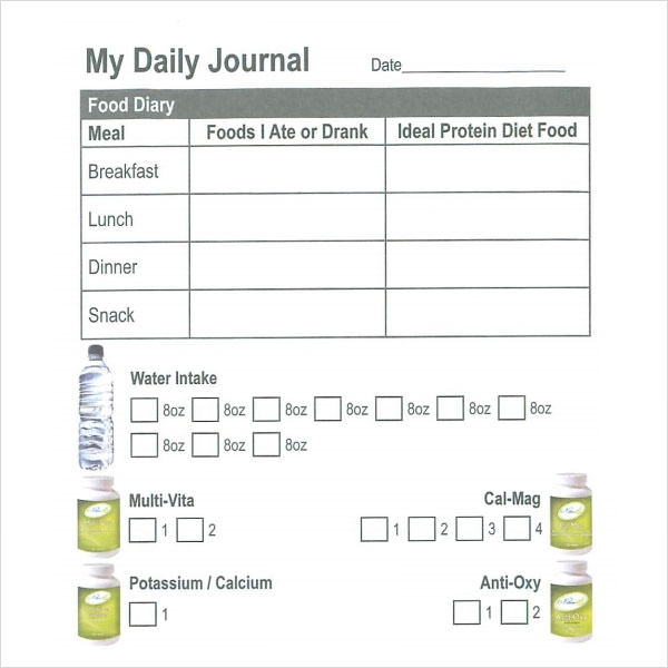 daily food log template word | trattorialeondoro