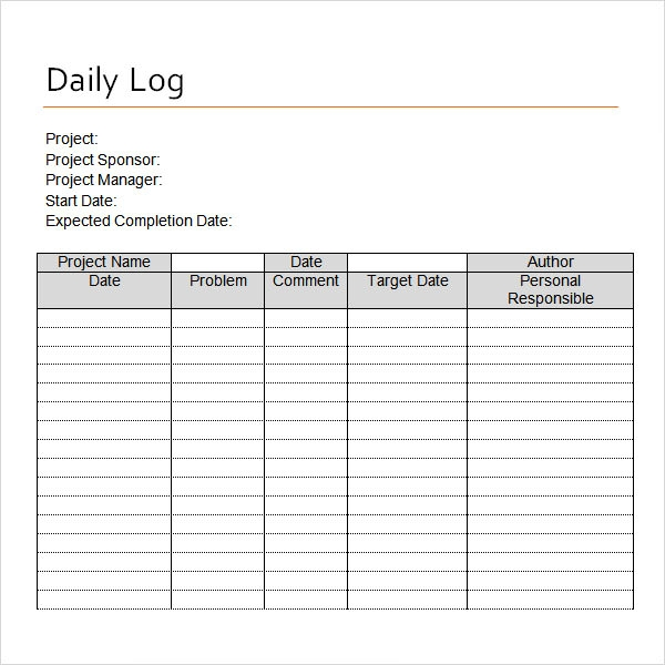 Daily Log Template Word PetitComingoutpolyCo