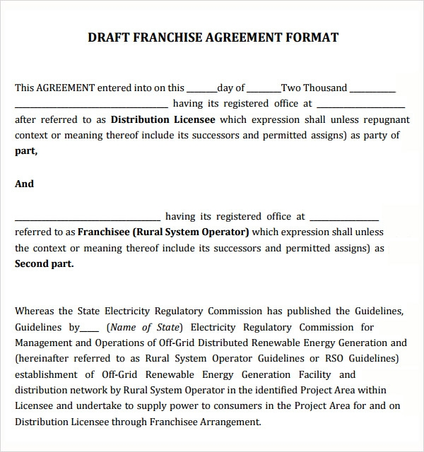 13 Sample Franchise Agreements Sample Templates