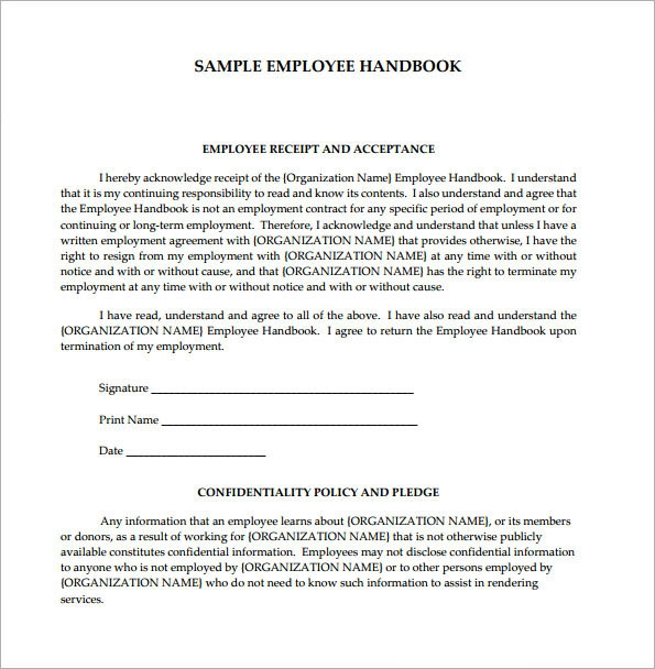 Employee handbook template 6 free pdf doc download for Free employee handbook template for small business