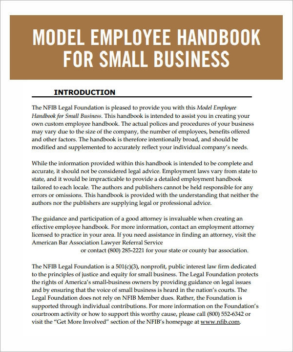 Employee Handbook Template   6 Free Pdf Doc Download z7i1nbOo