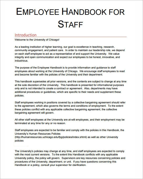 Staff Policy Template 6 Sample Printable Employee Handbook Templates Sample Templates