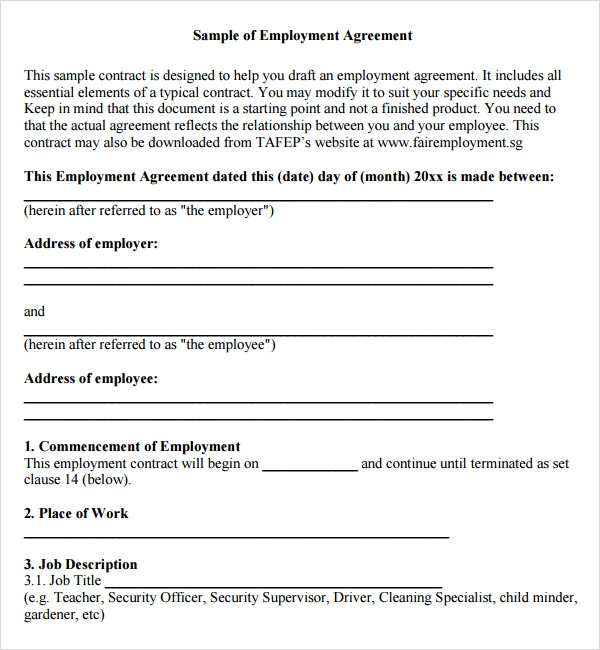 Sample Employment Agreement   Free Documents Download In Pdf Doc