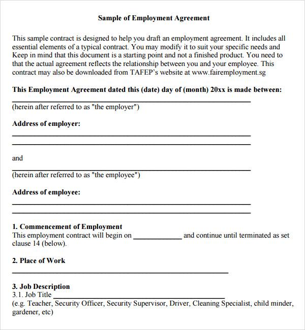 Employment Agreement 7 Free PDF Doc Download