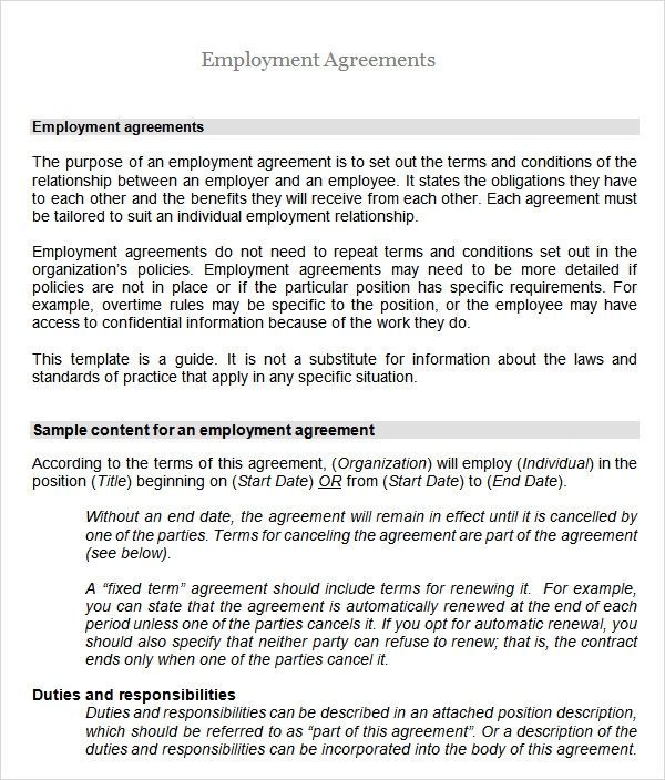 Sample Employment Agreement 5 Free Documents Download In Pdf Doc