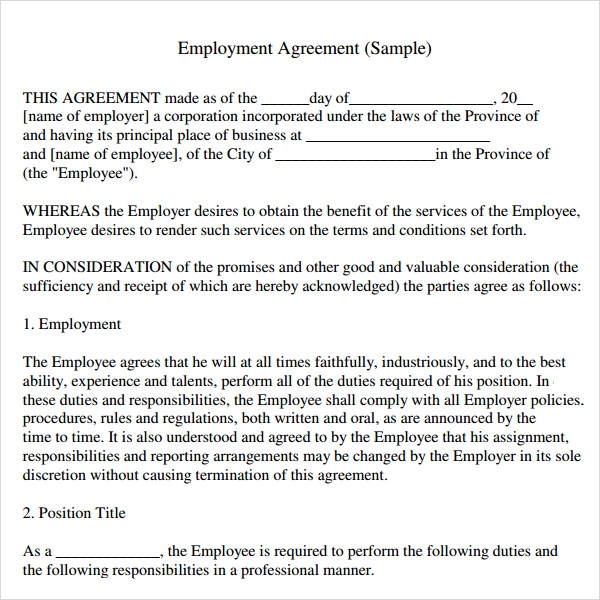 Sample Employment Agreement 5 Free Documents Download in PDF Doc – Sample Employment