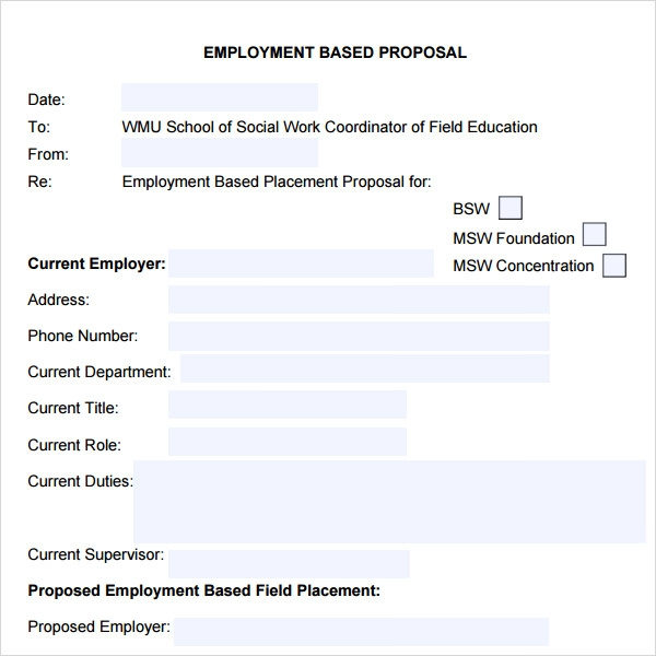 Employment Proposal Template  Free Job Proposal Template
