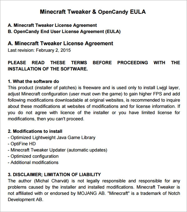 End User License Agreement 6 Free Pdf Doc Download