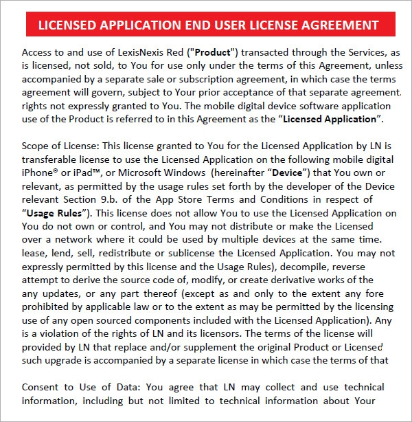 End User License Agreement Template Sample
