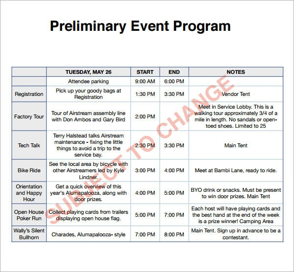 Event Program Template  WowcircleTk