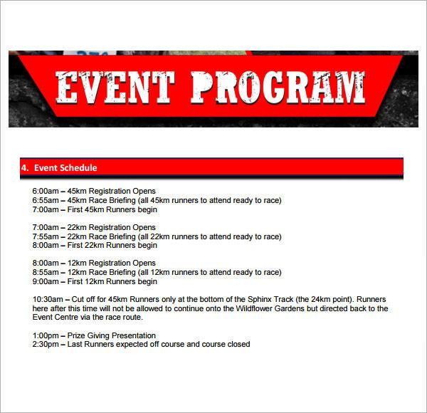 sample event program format