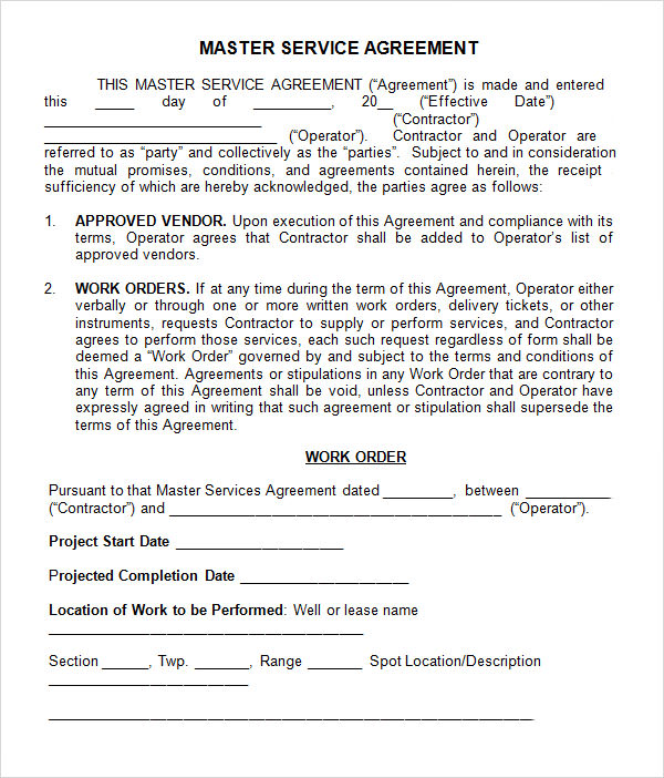 Master Service Agreement 10 Download Free Documents In
