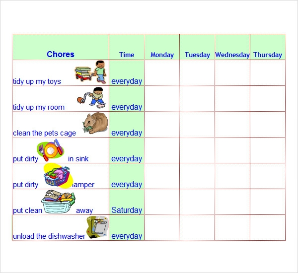 Household chores schedule template for House chore schedule template