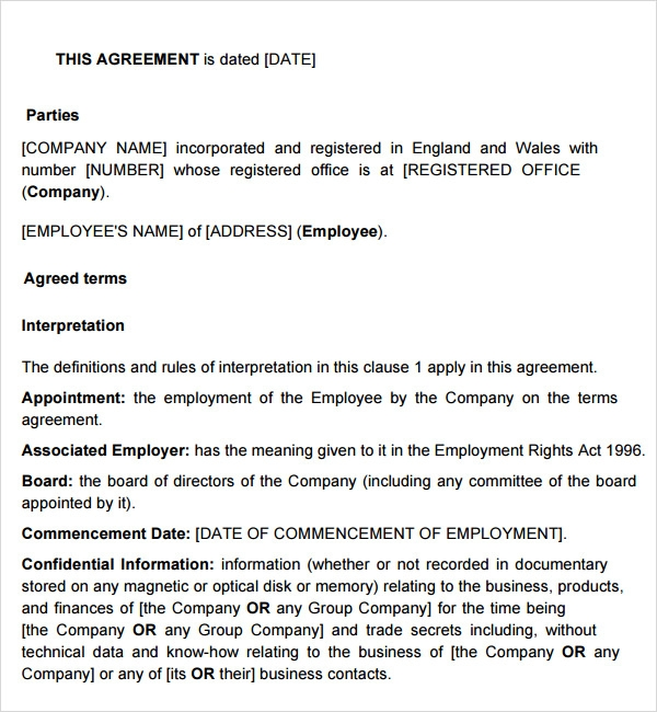 Sample Employment Agreement 5 Free Documents Download in PDF Doc – Executive Employment Agreement