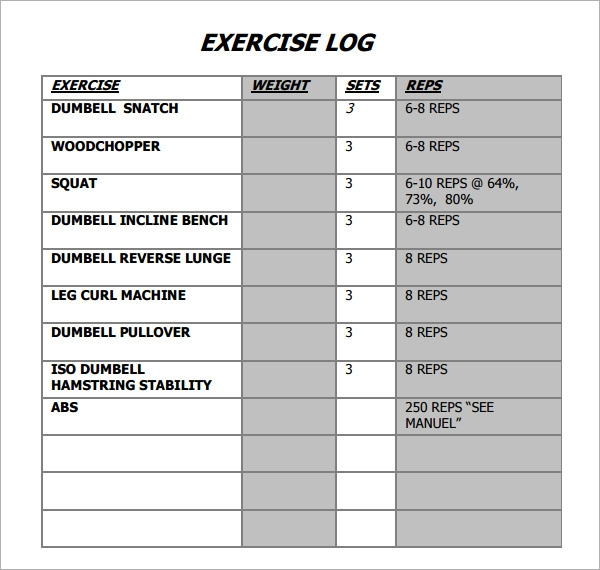 Exercise Log Template 8 Free Pdf Doc Download