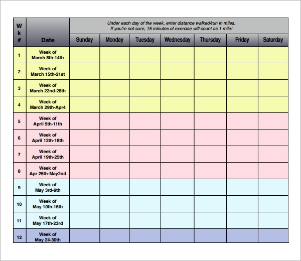 Exercise Log Template   Free Pdf  Doc Download