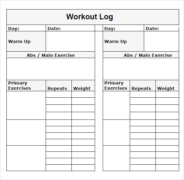 9 workout log templates sample templates. Black Bedroom Furniture Sets. Home Design Ideas