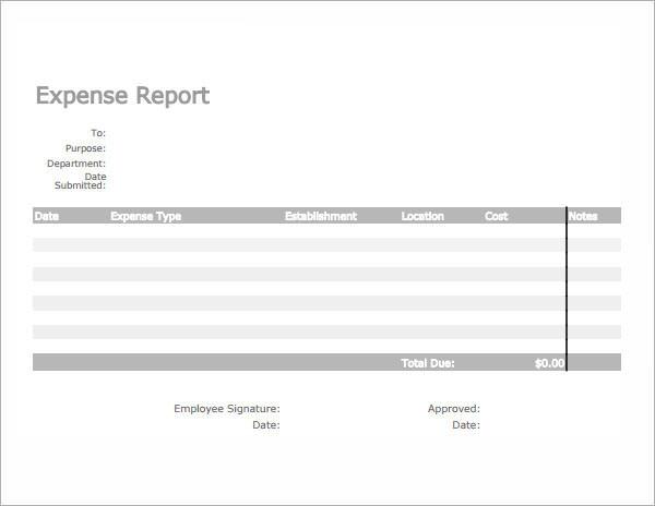 Expense Report Templates Sample Templates KSwTRbfK