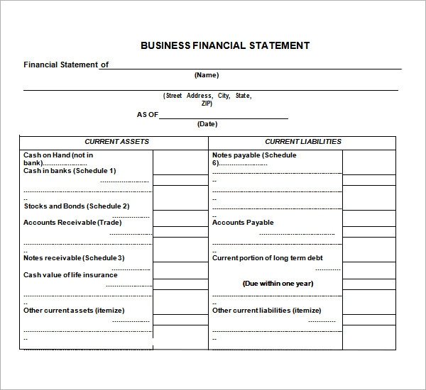 Small Business Financial Statement Template Pz8wc4kT