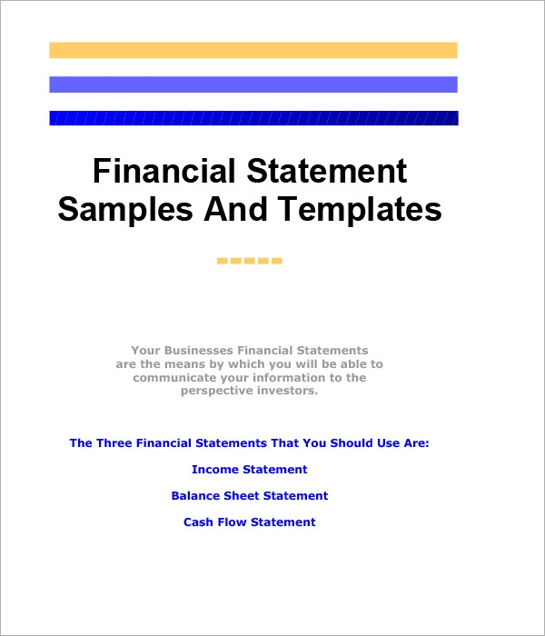 Financial Statement Sample Template  Annual Report Analysis Sample