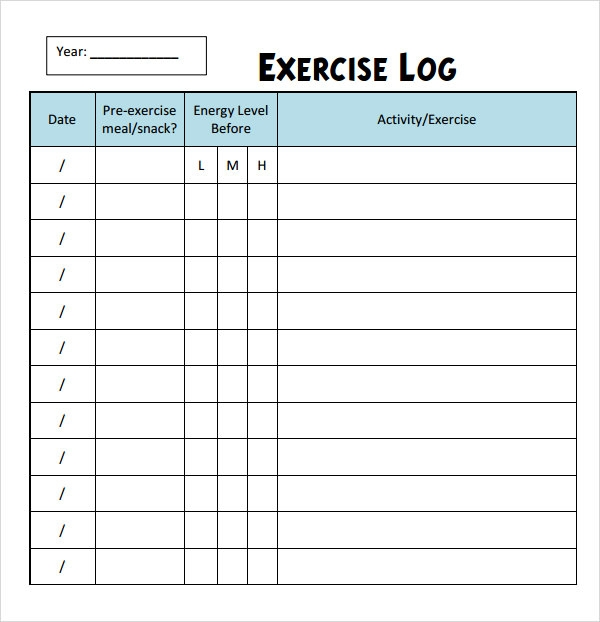 photo about Printable Workout Logs named Absolutely free 8+ Work out Log Templates inside of PDF Document