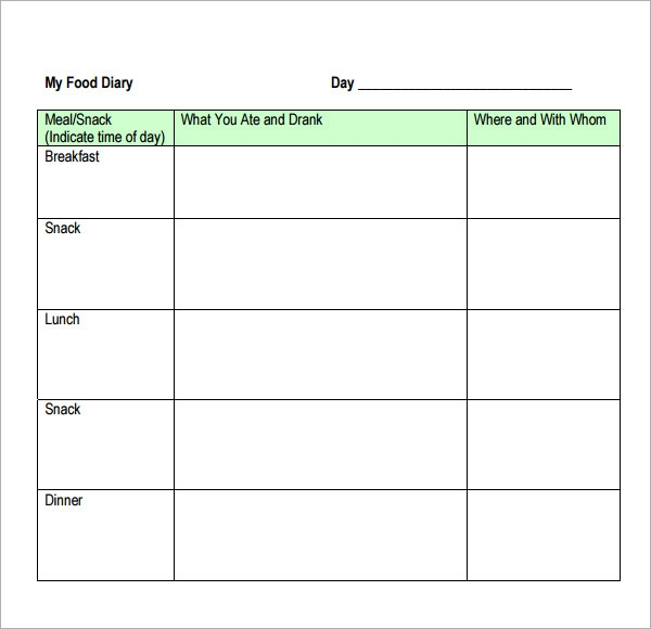 15 sample printable food log templates to download for Keeping a food diary template