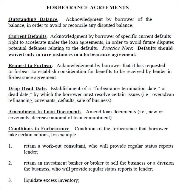 Forbearance Agreement   Download Free Documents In Pdf Word Excel