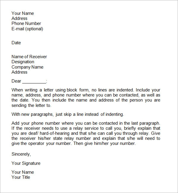 how to write a business letter sample free