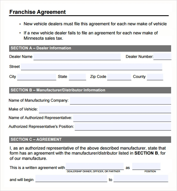 Sample Franchise Agreement 7 Documents in PDF Word – Sample Franchise Agreements