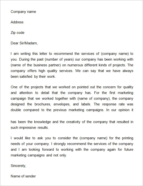 Company Recommendation Letter Sample.Free 14 Free Business Reference Letters In Doc Pdf