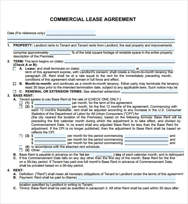 commercial lease agreement 7 free download for pdf doc sample templates
