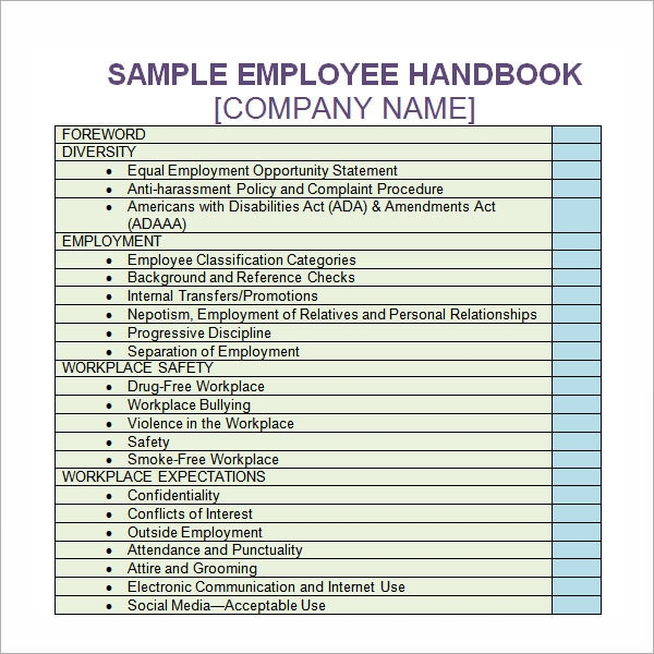 6 sample printable employee handbook templates sample templates. Black Bedroom Furniture Sets. Home Design Ideas