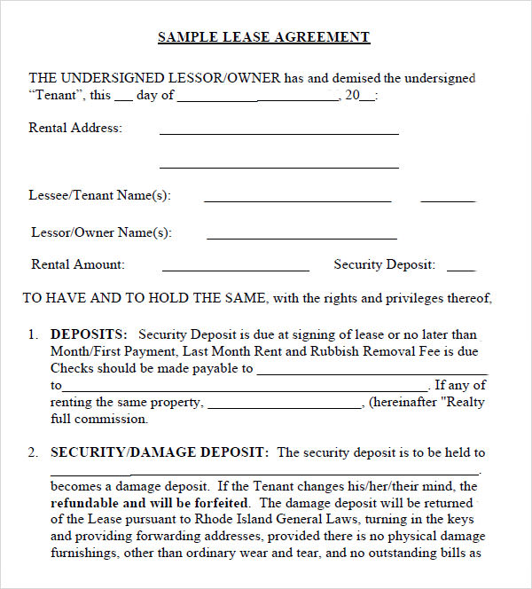 Leasing Agreement   Free  Download