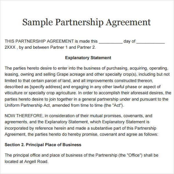 Partnership Agreement   9  Free PDF Doc Download Sample Templates pacfvSRQ