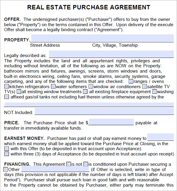 Property Contract Agreement Template  Home Purchase Agreement Form Free