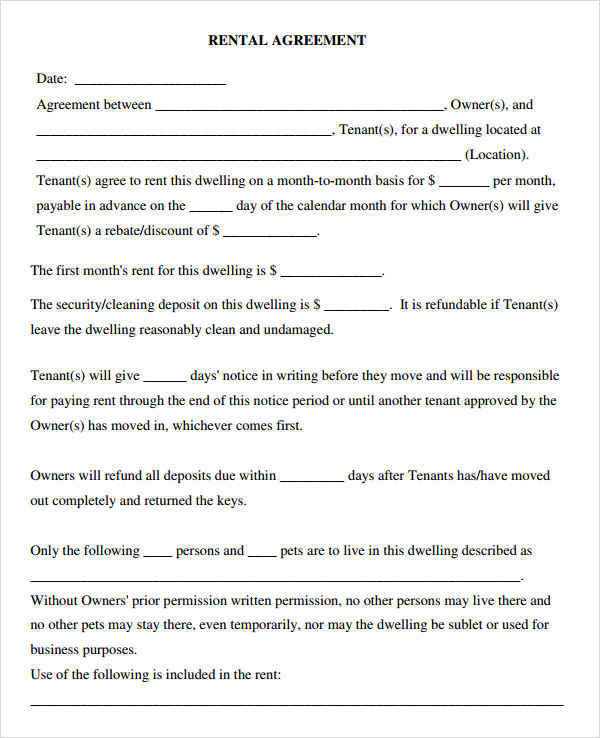Blank Rental Agreement Free Printable Lease Extension Form Lease