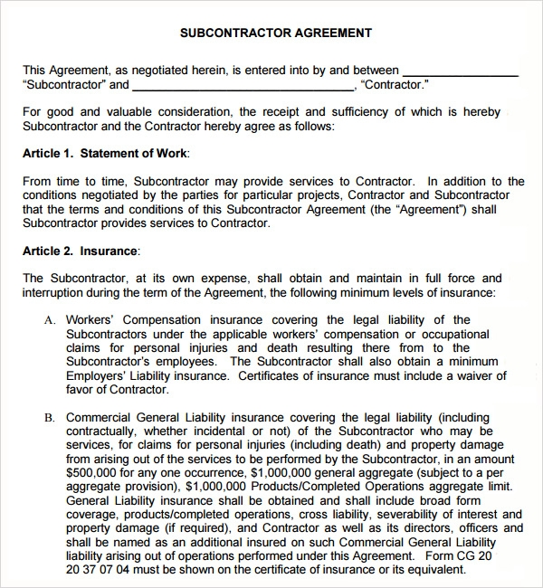 Subcontractor agreement 13 free pdf doc download for Order of subcontractors when building a house