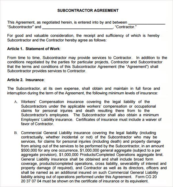 Free Subcontractor Agreementg