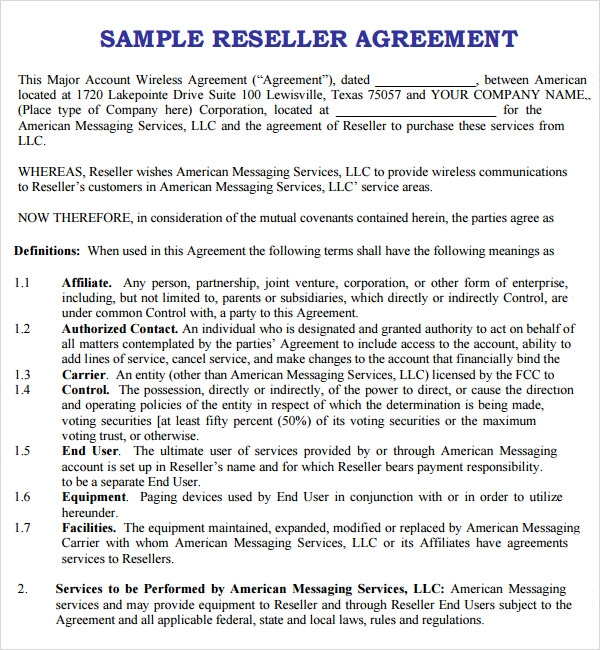 Reseller Agreement Templates Selol Ink
