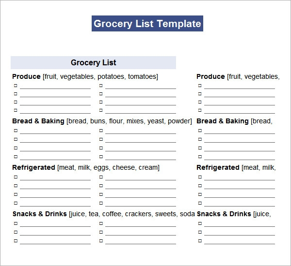 grocery shopping list template .