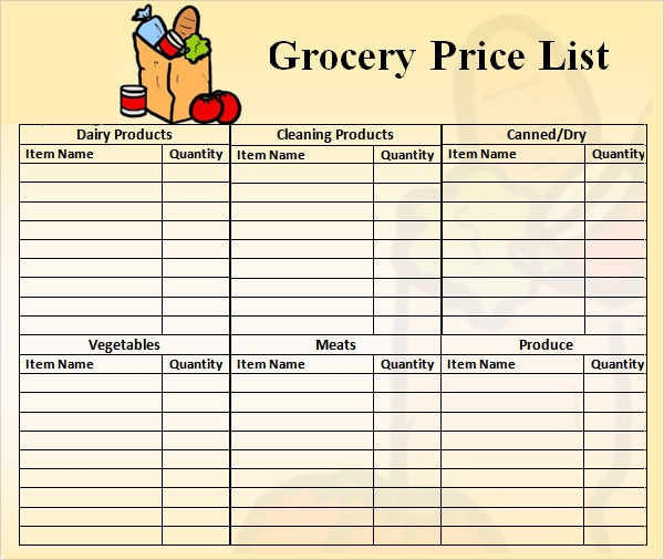 product price list template .