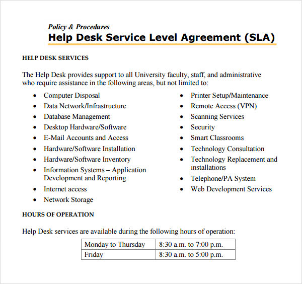 Sample Service Level Agreement Template Sample Service Level Agreement
