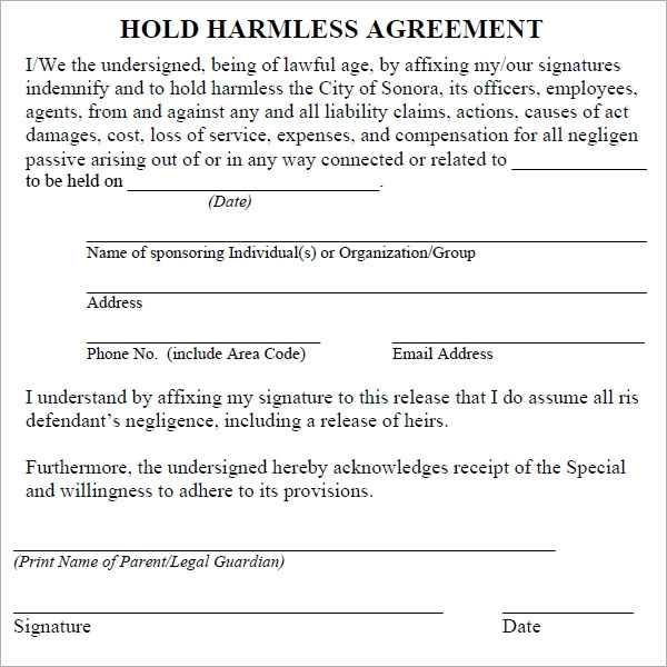 Simple Hold Harmless Agreement Template 28 Images