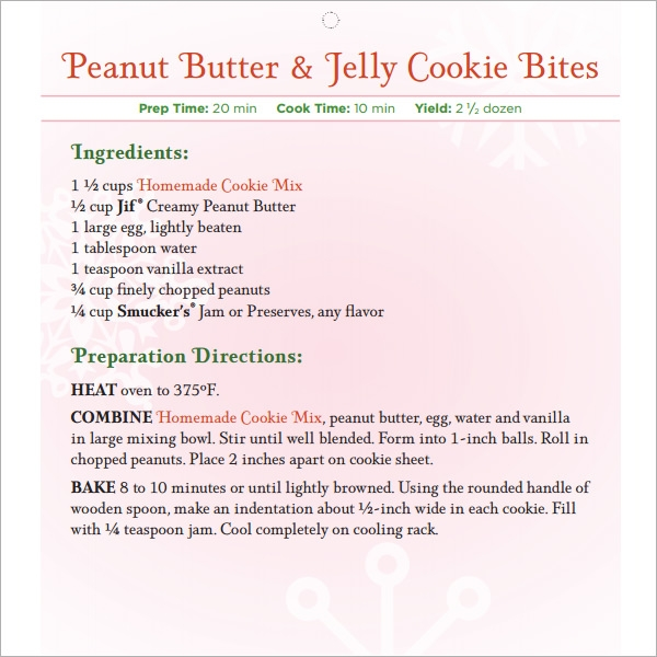holyday recipe book template