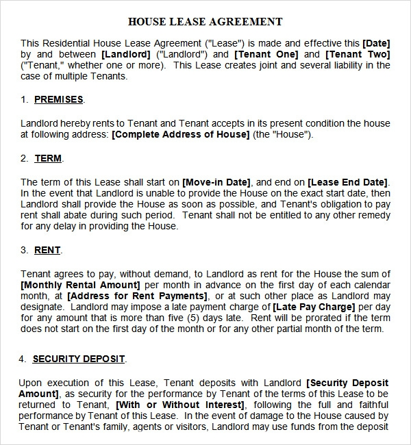House Lease Agreement Template Download House Rental Agreement