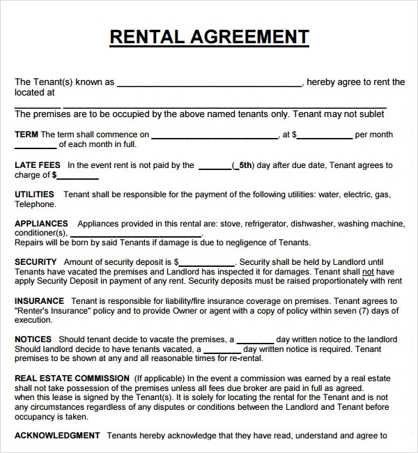 House Rental Agreement Template isycfCVA
