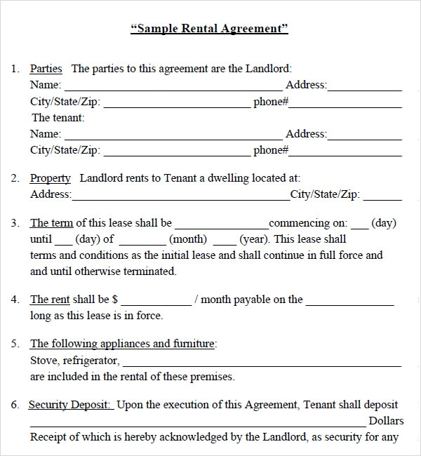 BASIC RENTAL AGREEMENT OR RESIDENTIAL LEASE Home Lease Agreement Template